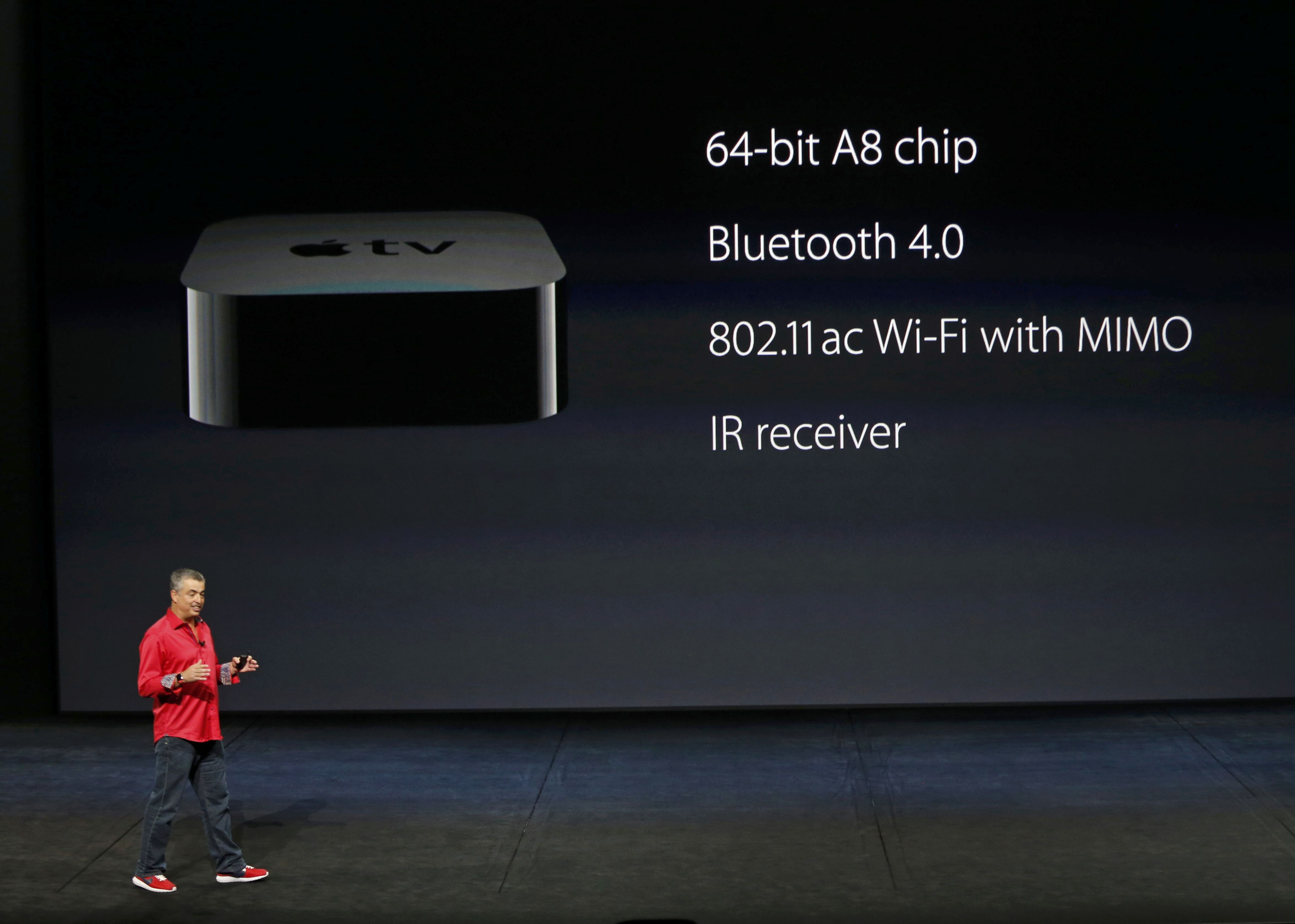 Eddie Cue, Apple's senior vice president of Internet Software and Services, discusses Apple TV hardware during an Apple media event in San Francisco, California, September 9, 2015. Reuters/Beck Diefenbach