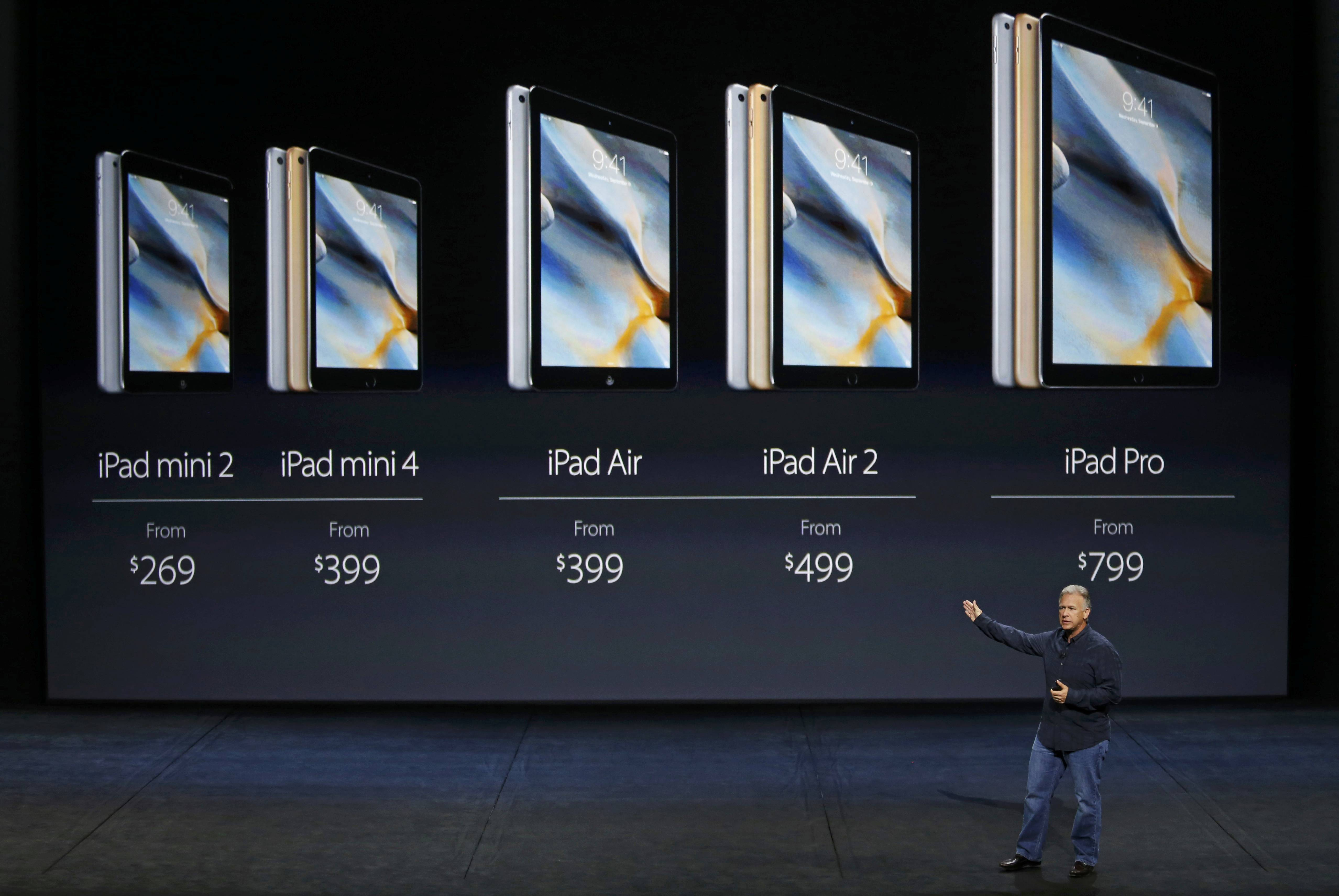 Phil Schiller, Senior Vice President of Worldwide Marketing at Apple Inc, speaks about the full line of iPad pricing during an Apple media event in San Francisco, California, September 9, 2015. Reuters/Beck Diefenbach